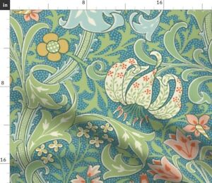 Golden Collection Floral Large Art Nouveau Damask Spoonflower Fabric by the Yard