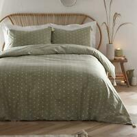 POLKA DOTS SPOTS PINSTRIPE KHAKI GREEN 100% COTTON SUPER KING DUVET COVER