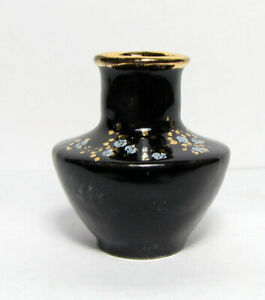 """Dollhouse Vase Gloss black with gold 1 1/8"""" H. Handcrafted Porcelain-Signed"""