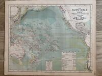 1889 PACIFIC OCEAN ORIGINAL ANTIQUE MAP BY LETTS, SON & Co. 131 YEARS OLD