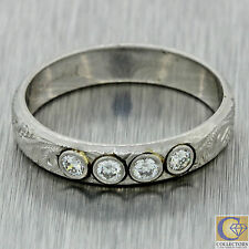 1940s Antique Art Deco Solid Platinum .20ctw Diamond Engraved 3mm Band Ring