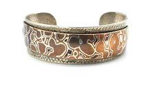 "Vtg Modernist MOKUME Sterling Silver HANDMADE Cuff Bracelet SIGNED ""RAP"""