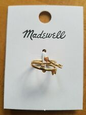 NWT Madewell Tiny Jewels Pink Jade Ring Set Brass Crystal Stack size 6 $28 h0047