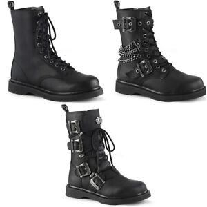 """Pleaser Demonia 1 1/4"""" Heel 10 Eyelet Mid-Calf Combat Boot Side Zip BOLT250/BVL"""