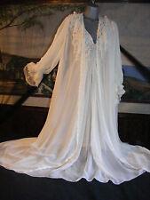 """Cabernet Sheer Chiffon Lace Fancy Bridal Peignoir Set Gown Robe S M Bust 44"""""""