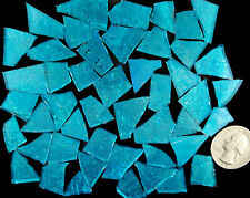 100 pieces of TAHITI TEAL BLUE  Premium Glitter Glass Mosaic Tile