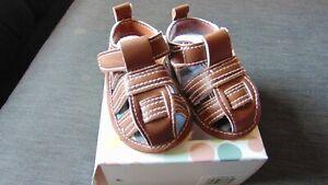 Little Me Faux Leather RipTape Fisherman Style Pram Sandal Shoes 0-6m Brown BNWT