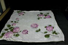 Vintage White Cotton Purple Floral Flowers Hankie Handerchief