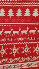 SCANDI DEER SNOWFLAKES CHRISTMAS STRIPE QUILTING FABRIC