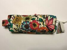 SAKROOTS ARTIST CIRCLE FLORAL BUTTERFLY ZIP CANVAS COSMETIC MAKEUP BAG POUCH $30