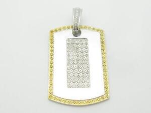 14k White Gold Yellow & White Diamonds Dog Tag Design Large Charm Pendant Gift