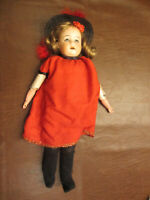 "VINTAGE ANTIQUE OLD BISQUE HEAD CHILD GIRL DOLL JOINTED LEATHER BODY 15.5"" TALL"