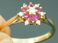 9ct Gold Ruby & Diamond Hallmarked Cluster Ring size M