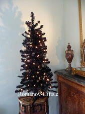 Sparkling BLACK Christmas Tree Pre-lit with Clear lights,4 Ft Halloween, Autumn