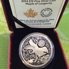 Canada 2014 $15 MAPLE OF LONGEVITY Silver Coin - Cranes Hologram RCM