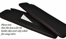 RED STITCH 2X SUN VISORS SKIN COVERS FITS PEUGEOT 206CC CONVERTIBLE 98-10