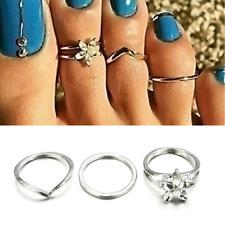 3Pcs/set Celebrity Silver Daisy Toe Ring Punk Style Women Foot Finger Jewelry TR