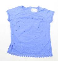 Next Womens Size 16 Cotton Blue Sequin T-Shirt (Regular)