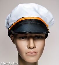 Captain's Yacht Hat White Poly Fabric Hat With Gold Braid M/L