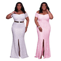 Plus Size Women Fashion White/Pink Off Shoulder Lace Gown Party Cocktail Dress