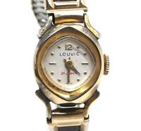 Rare Vintage LOUVIC Swiss Winding Ladies 10k RGP Gold Toned Leather Watch 25J