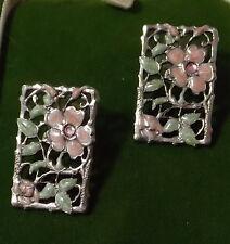Vintage Flower Pink Green Enamel Rhinestone Filigree Silver Post Earrings 4b 37