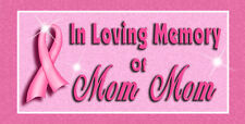 """1 Breast Cancer Decal Bumper Sticker Personalize Gifts Ladies 4"""" x 8"""""""