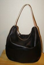 NWT CHRISTOPHER KON Black Ash Natural Leather Handbag Hobo Tote Shoulder Bag