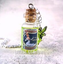 Absinthe Green Fairy Mini Glass Bottle Vial Necklace Charm w/Real Moving Liquid