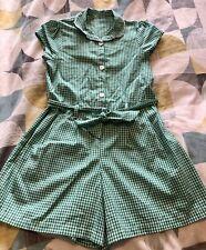 Girls School Green Gingham Playsuit - George - Age 4-5 - Never Worn