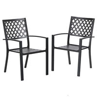 PHI VILLA 2 Piece Metal Steel Patio Dining Chairs with Arm Rest - Black