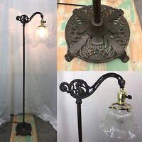 Antique Vtg Victorian Floor Bridge Lamp Arts & Crafts Deco Seahorse, Glass Shade