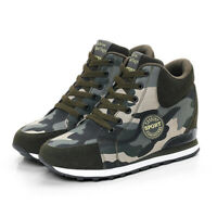 Womens Wedge Camouflage Lace Up Sneakers High-Top Ankle Boots Shoes New 2019