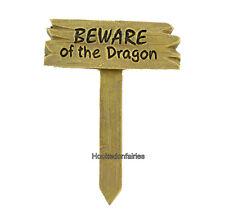 Beware of the Dragon Sign MI 51207 Miniature Fairy Garden Dollhouse