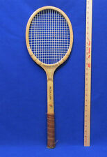 Vintage Wood Wooden Tennis Racquet Leather Wrap Frederick Willys String Intact