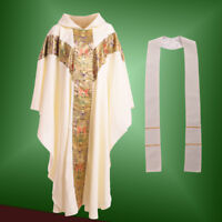 Church Clergy Vestments Chasuble Catholic Cassock Robe Father Priest With Stole