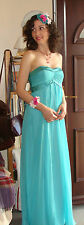 Monsoon aqua floaty dress empire waist strapless fulllength evening ball UK 8