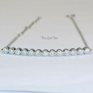 """14K Solid White Gold Diamond Curved Bar Bracelet 6"""" 6.5"""" 7"""" 7.5"""" Adjustable"""