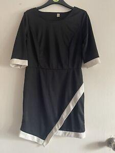 Black White 60's Vintage Style Short Sleeve Mini Dress Xl 10 12 Handkerchief Hem