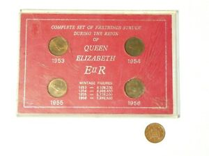 1953-56 Uncirculated Set of 4 Elizabeth II Farthing Coins in Case a/f