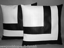 "2 Blanco y Negro Imitación Cuero Cushion Covers Block Estilo 18"" Almohadas de dispersión"