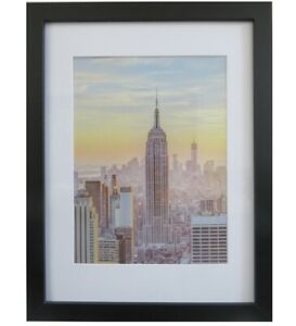 Frame Amo 12x16 Black Picture Frame with White Mat for 9x12, 1 inch border