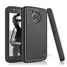 Fits Motorola Moto E4 Case Shockproof Hybrid Rugged Rubber Impact Cover - Black