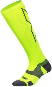 2XU Vectr Full Length Unisex Running Compression Socks, Wild Lime Grey - L2