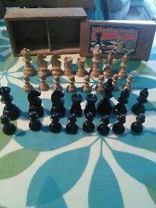 Vintage BOXWOOD CHESSMEN 'EBONISED' wooden chess set   by. TSL
