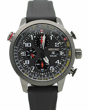 New Seiko Solar SSC371 Prospex Chronograph Black Rubber Strap Men's Watch