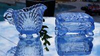 Light Blue Cambridge Glass Scalloped Shell Shaped Creamer Pitcher & Lidded Box!