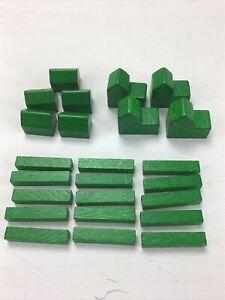 24 Green Wooden Cities, Roads, Settlement Replacement Settlers Catan Board Game