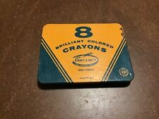 8 Crayons Metal Tin Box Hinged Lid Binney & Smith. Teacher collectible Crayola