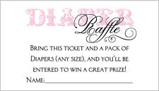 20 Diaper Raffle Tickets - Girl Baby Shower Invitation Insert